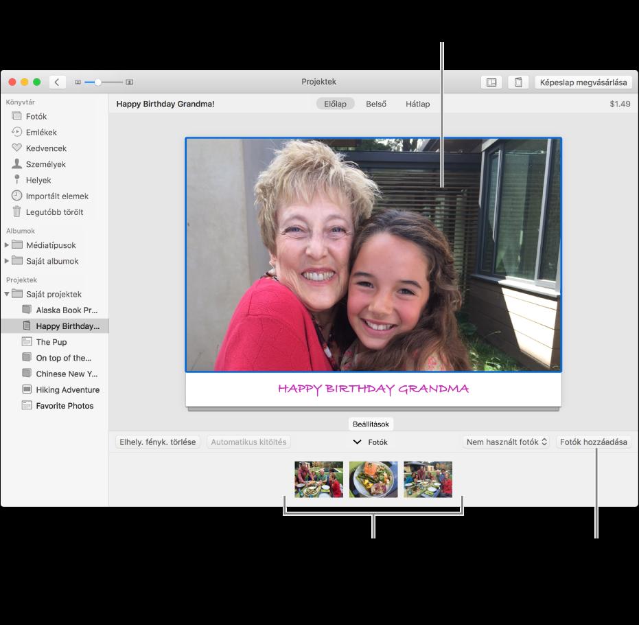Képeslap kijelölt fotóval, a jobb alsó részen a Fotók hozzáadása gombbal.