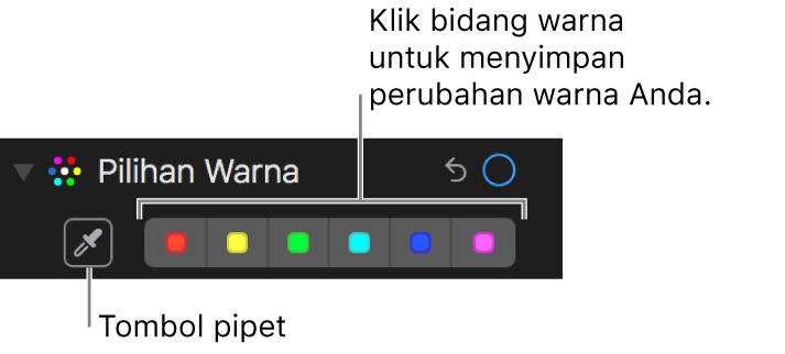 Kontrol Pilihan Warna menampilkan tombol Pipet dan sumber warna.