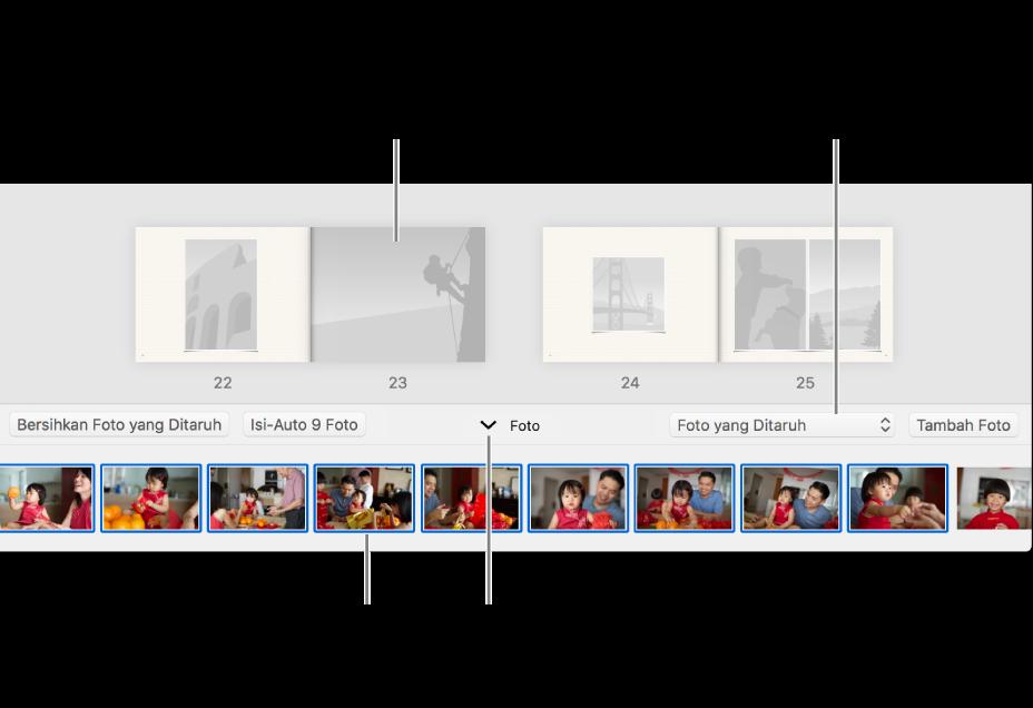 Jendela Foto menampilkan halaman buku dengan area Foto di bagian bawah.