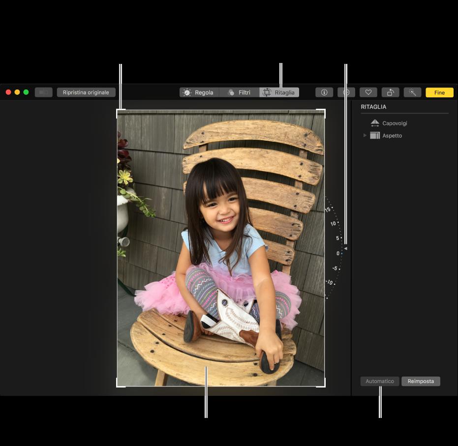 Finestra che visualizza una foto con le opzioni di ritaglio e raddrizzamento.