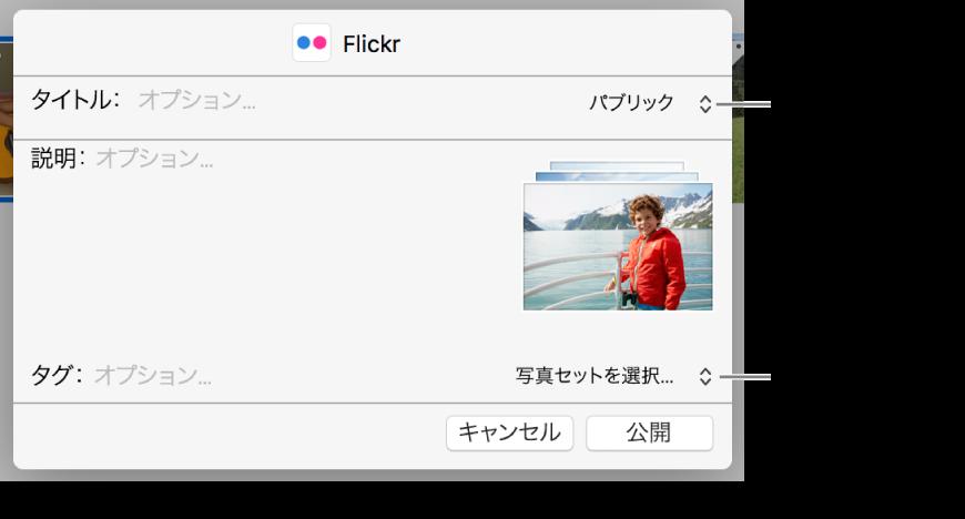「Flickr」共有ダイアログ。