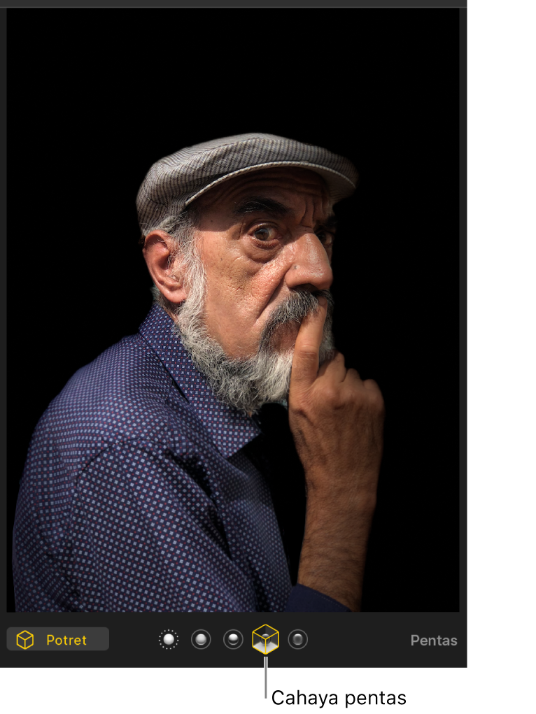 Foto potret dengan pencahayaan pentas mencipta latar belakang hitam.