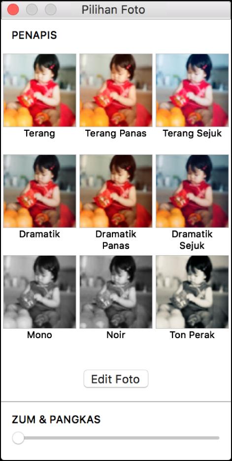 Tetingkap Pilihan Foto dengan pilihan jidar di bahagian atas.
