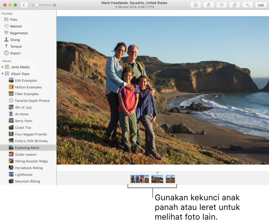 Tetingkap Foto menunjukkan foto dalam album yang sama atau koleksi di bawah foto.