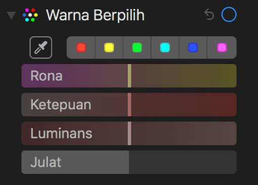 Kawalan Warna Berpilih menunjukkan gelangsar Rona, Ketepuan, Luminans dan Julat.
