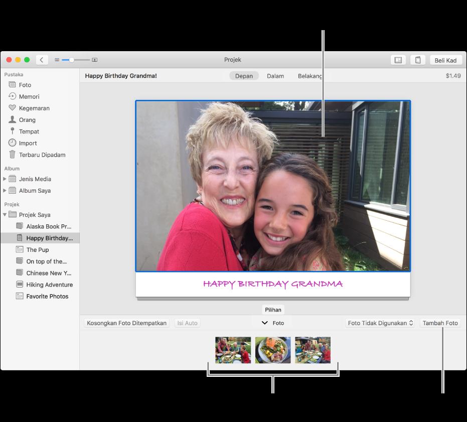 Kad dengan foto dipilih dan butang Tambah Foto di kanan bawah.