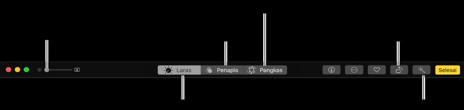 Bar alat edit menunjukkan butang untuk memaparkan pilihan pelarasan, penapis dan pemangkasan.