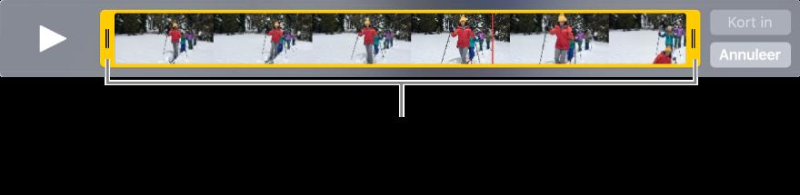 Gele grepen voor het inkorten van een videofragment