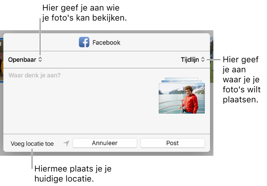 Dialoogvenster voor het delen van foto's via Facebook.