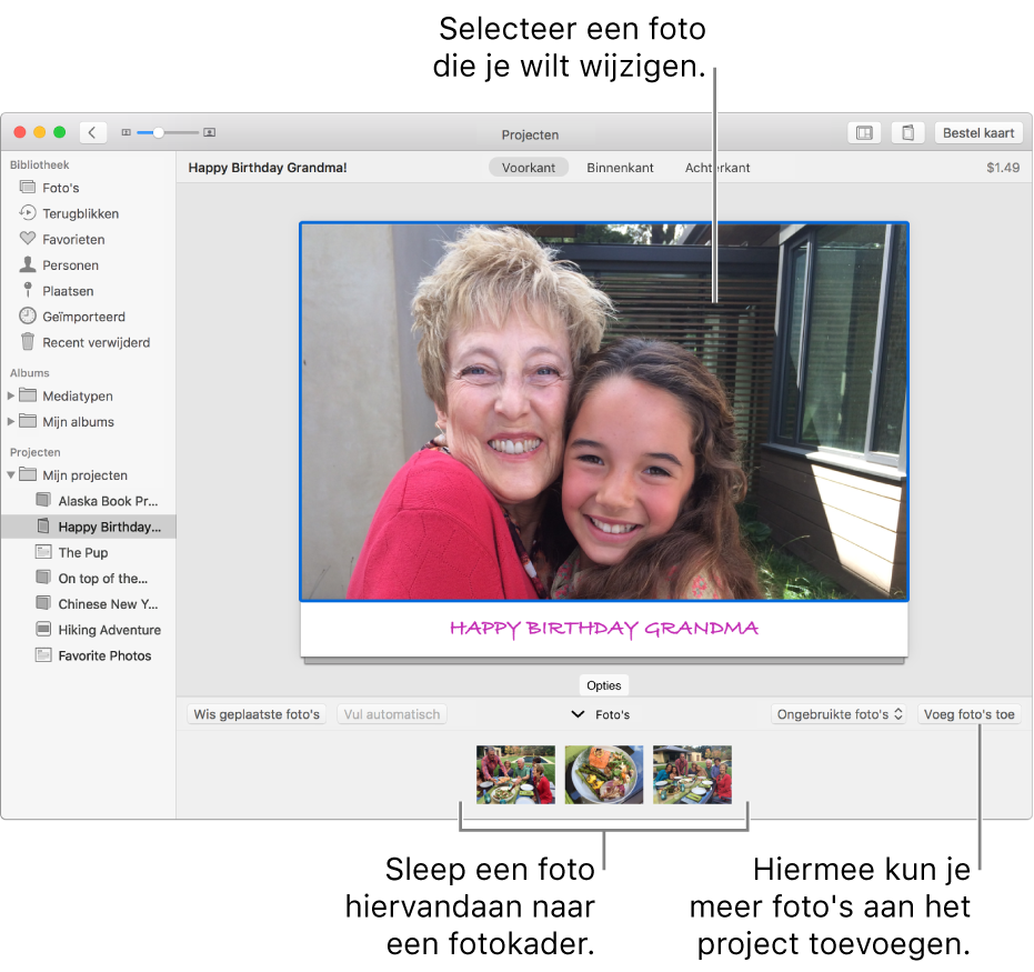 Een kaart met een geselecteerde foto en de knop 'Voeg foto's toe' rechtsonder.