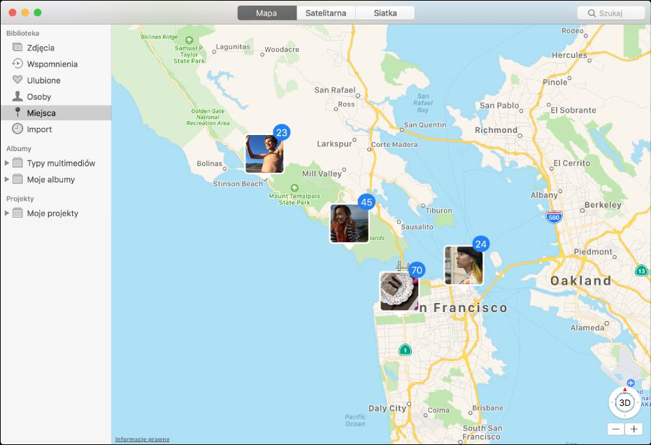 Okno aplikacji Zdjęcia zawierające mapę zminiaturkami zdjęć pogrupowanymi według miejsc.