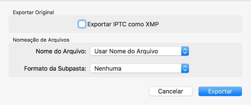 Diálogo Exportar Original exibindo opções de exportação.