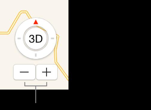Botões de zoom no mapa.