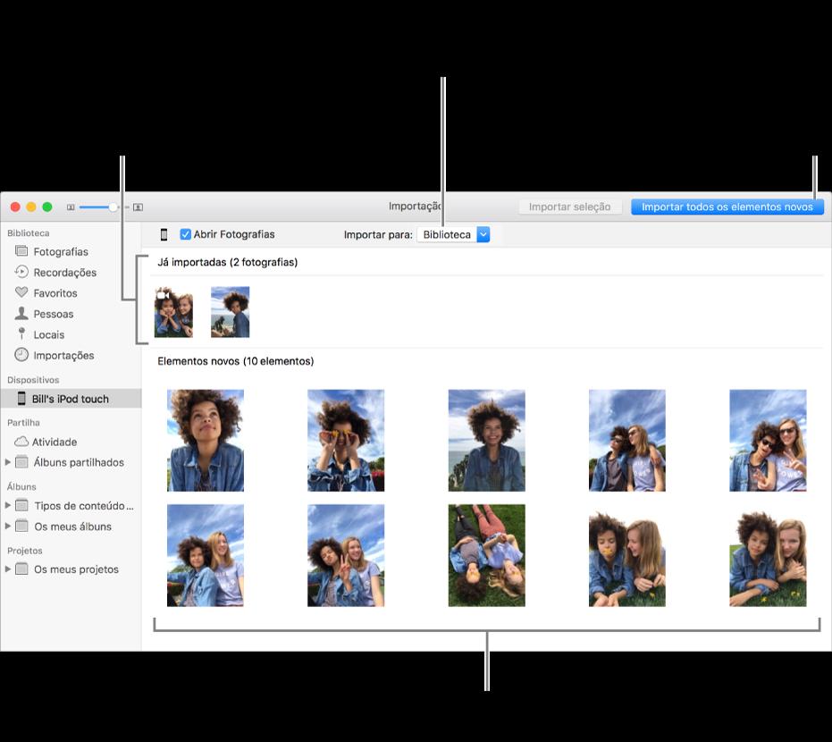 """As fotografias que já foram importadas são apresentadas na parte superior do painel, e as fotografias novas na parte inferior. Na parte superior, ao centro, encontra-se o menu pop-up """"Importar para"""". O botão """"Importar todas as fotografias novas"""" encontra-se na parte superior direita."""