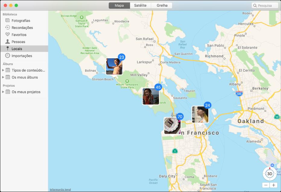Janela de Fotografias que mostra um mapa com miniaturas de fotografias agrupadas segundo a localização.