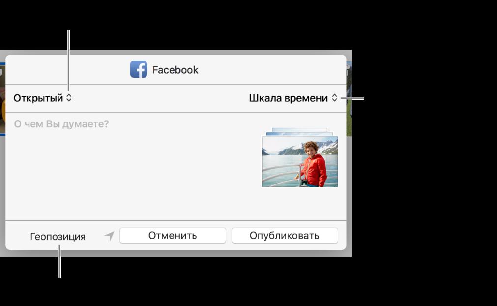 Диалоговое окно публикации в Facebook.
