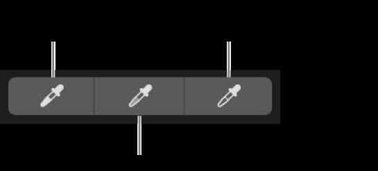 Tre pipetter som används till att välja bildens svartpunkt, mellantoner och vitpunkt.