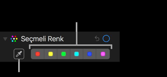 Damlalık düğmesinin ve renk kutularının gösterildiği Seçmeli Renk denetimleri.