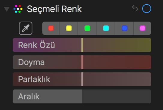 Renk Özü, Doyma, Parlaklık ve Aralık sürgülerinin gösterildiği Seçmeli Renk denetimleri.