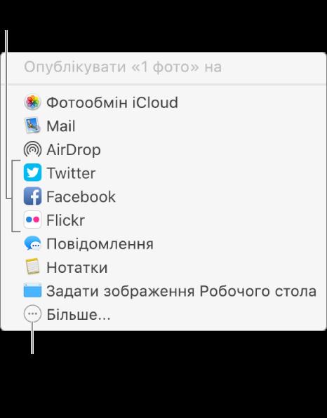 Меню «Спільний доступ» із розширеннями сторонніх розробників, наприклад Flickr.