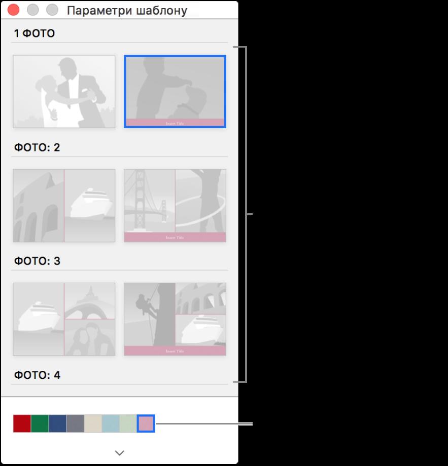 Вікно «Параметри шаблону» для листівки.