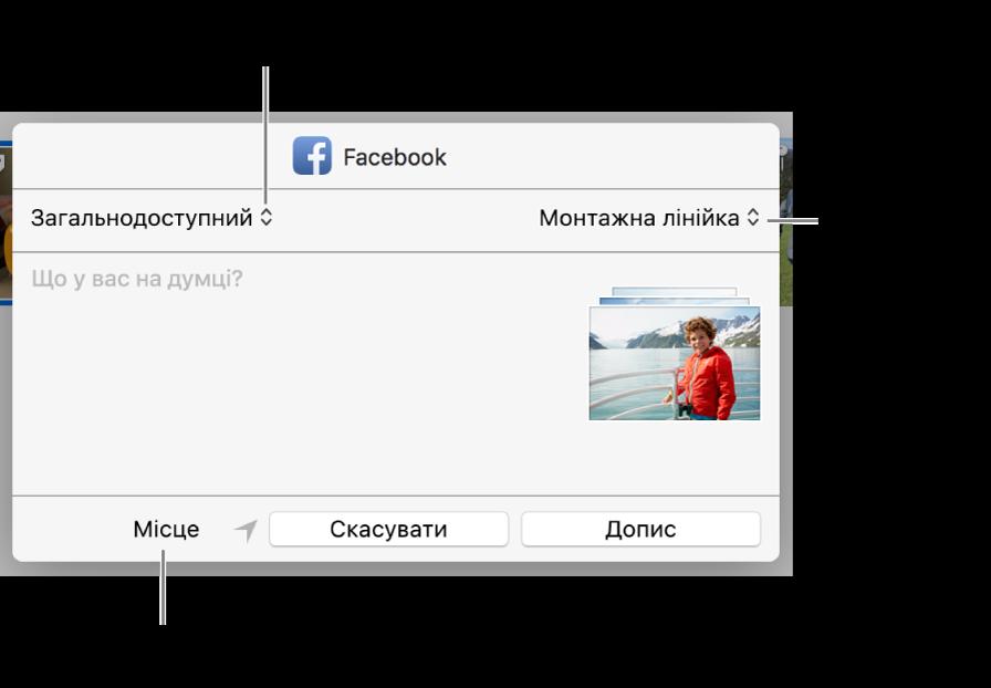 Діалогове вікно надсилання у Facebook.