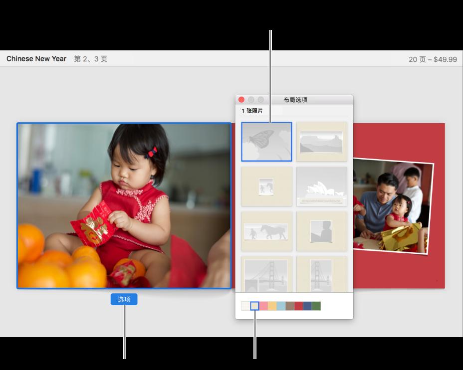 """双页全开式相册,其前方显示""""布局选项""""按钮。"""