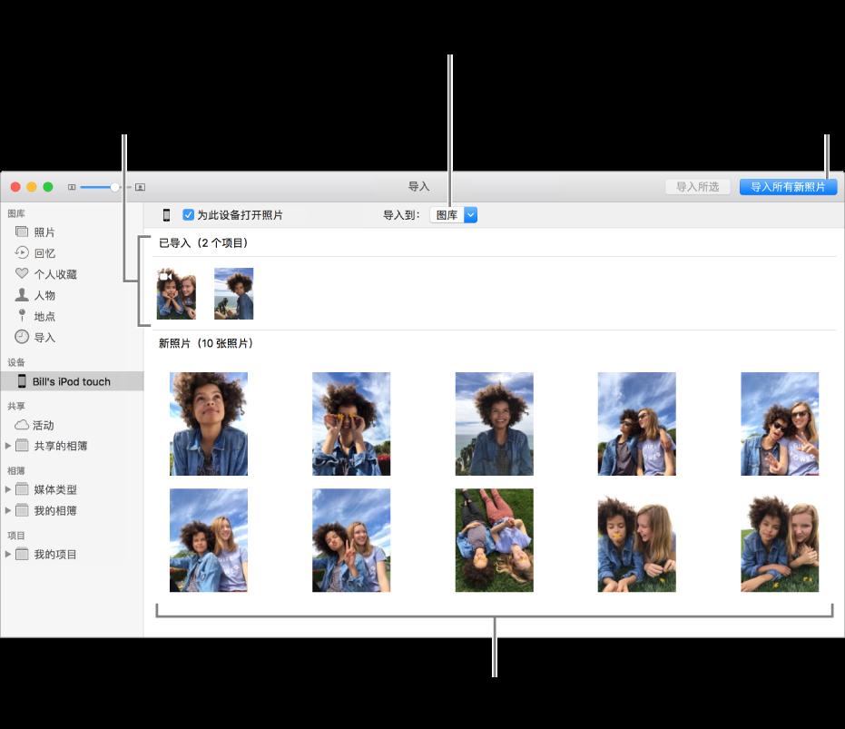 """已经导入设备中的照片显示在面板的顶部;新照片显示在底部。中间顶部是""""导入到""""弹出式菜单。右上方是""""导入所有新照片""""按钮。"""