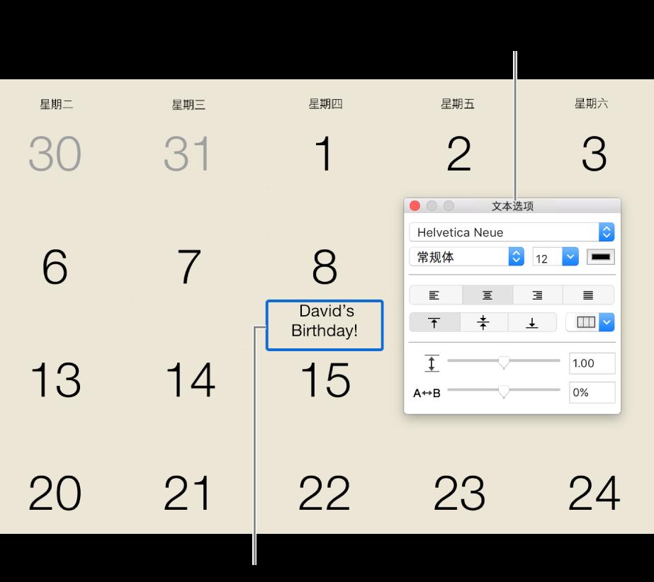 """已添加文本且右侧显示""""文本选项""""窗口的日期。"""