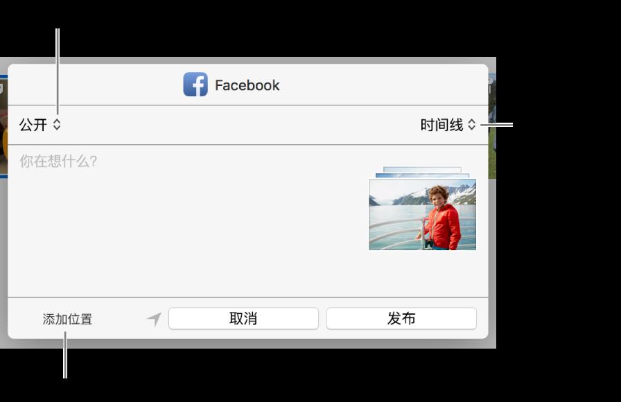 Facebook 共享对话框。