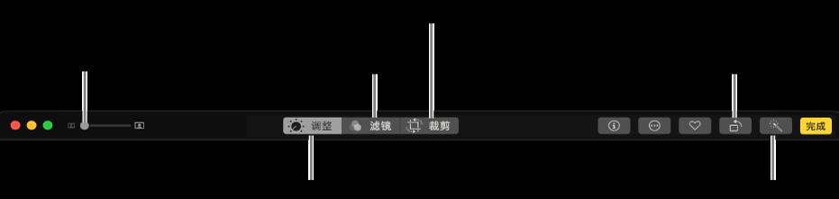 编辑工具栏显示的按钮用于显示调整、滤镜和裁剪选项。