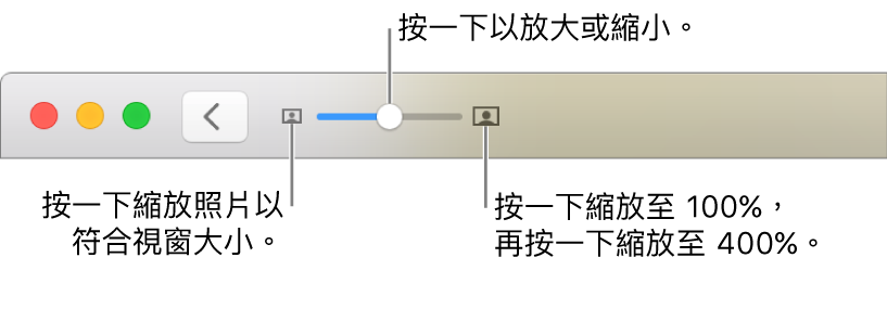 顯示縮放控制項目的工具列。