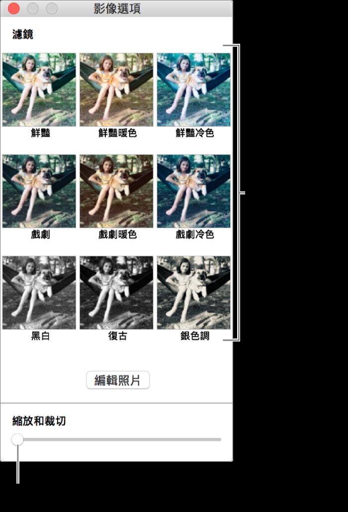 「照片選項」視窗,底部有「縮放與裁切」滑桿,而最上方有特效選項。