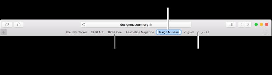 شريط المفضلة وبه مجلد إشارات مرجعية. لتحرير إشارة مرجعية أو مجلد في الشريط، انقر مطولاً عليه. لإعادة ترتيب العناصر في الشريط، قم بسحبها إليه. لإزالة عنصر، قم بسحبه بعيدًا عن الشريط.