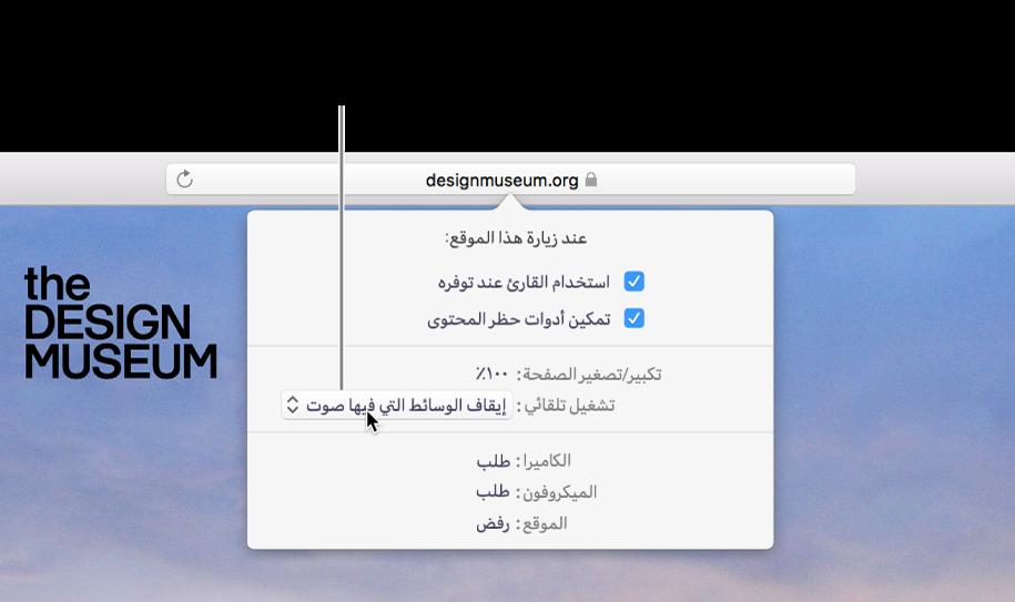 مربع حوار يظهر أسفل حقل البحث الذكي عند اختيار Safari> إعدادات موقع الويب هذا. يحتوي مربع الحوار على خيارات لتخصيص طريقة استعراضك لموقع الويب الحالي، بما في ذلك استخدام عرض القارئ، وتمكين أدوات حظر المحتوى، والمزيد.
