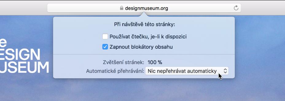 Nabídka vdynamickém vyhledávacím poli, vníž se zobrazuje nastavení pro aktuální webový server.