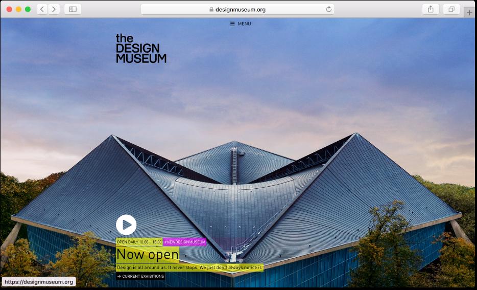 Et Safari-vindue, der viser webstedet til et magasin.