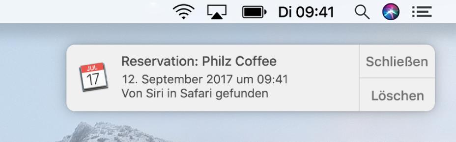 Ein Siri-Vorschlag für das Hinzufügen eines in Safari angezeigten Ereignisses zum Kalender.