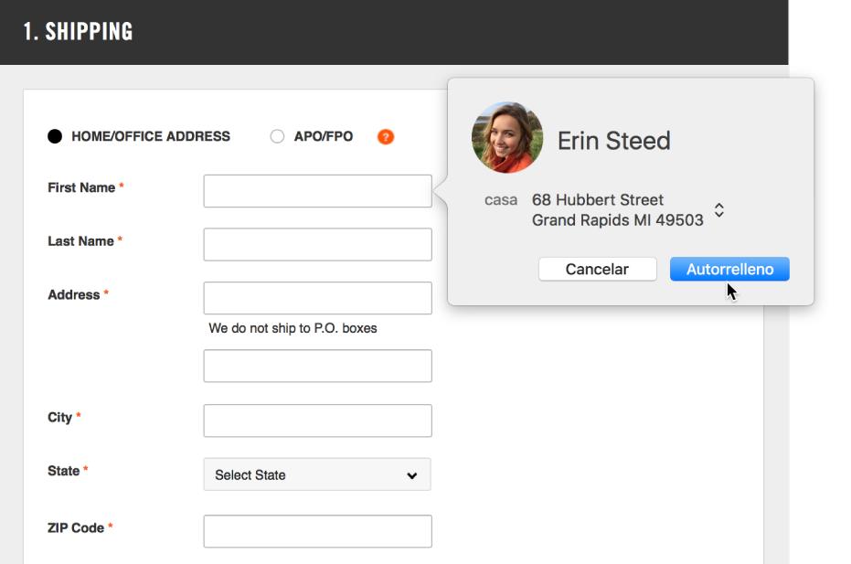 Formulario de envío mostrando una tarjeta de contacto y Autorrelleno disponible.
