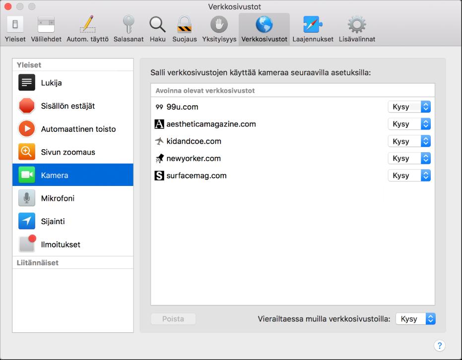 Verkkosivustot-asetukset, jossa voit muokata yksittäisten verkkosivustojen selaamistapaa Safaria käyttäessäsi.
