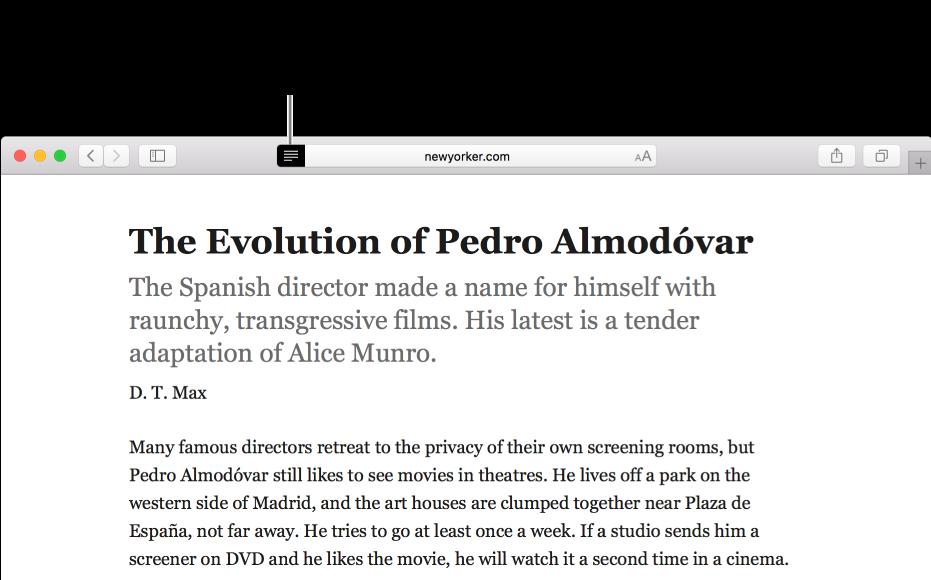 Un article en mode Lecteur, toutes les publicités et fonctions de navigation sont enlevées.