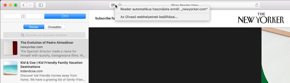 Safari-ablak megjelenített Olvasási listával.