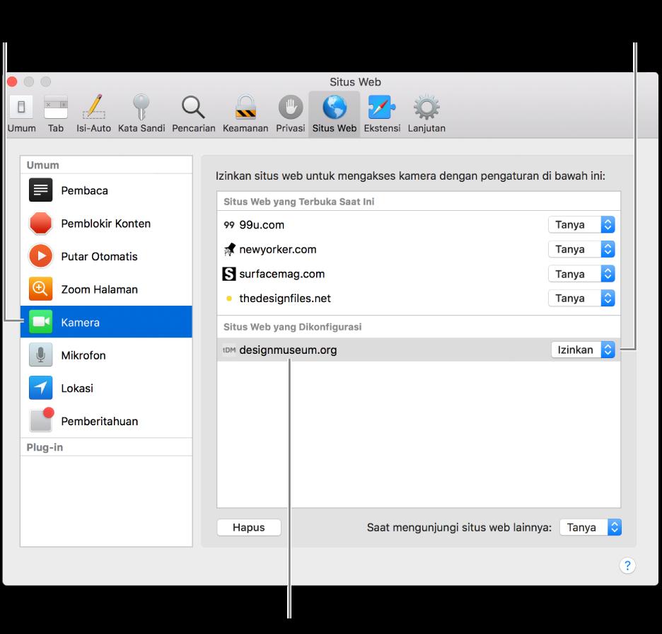 Panel Situs Web pada preferensi Safari, tempat Anda dapat menyesuaikan cara Anda menelusuri situs web terpisah.