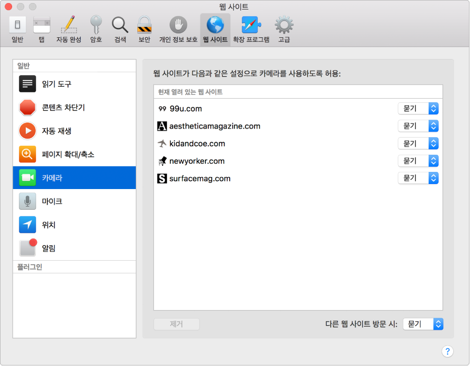 Safari를 사용하여 개별 웹 사이트를 탐색하는 방식을 사용자화할 수 있는 웹 사이트 환경설정.