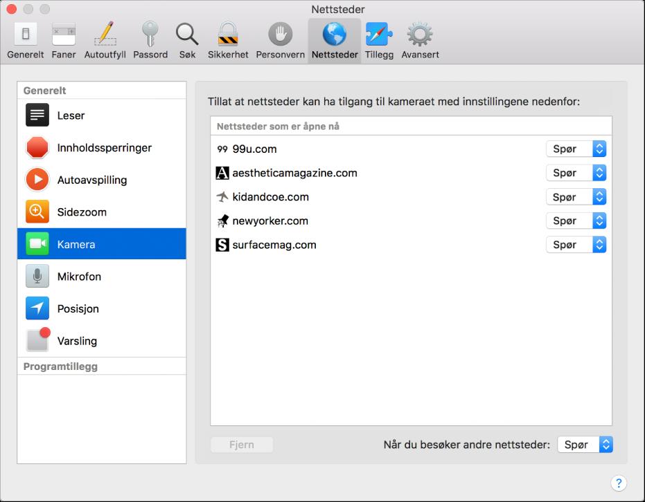 Nettsteder-valg, der du kan tilpasse nettleseren for enkeltnettsteder med Safari.