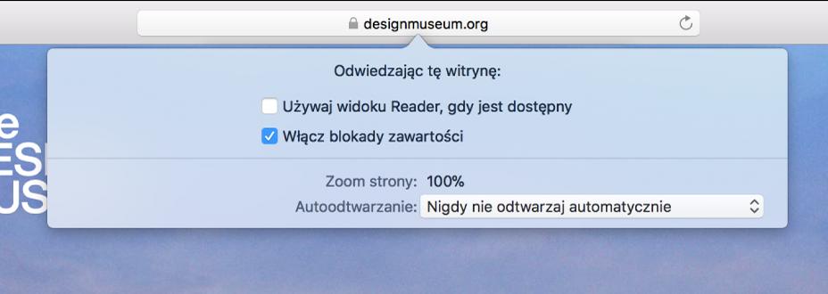 Menu wyświetlane przy inteligentnym polu wyszukiwania, zawierające ustawienia dotyczące bieżącej witryny.