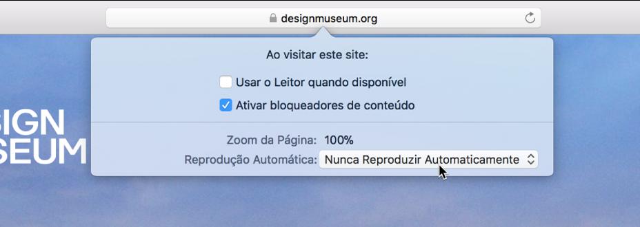 Um menu do campo Busca Inteligente que mostra as configurações para site atual.