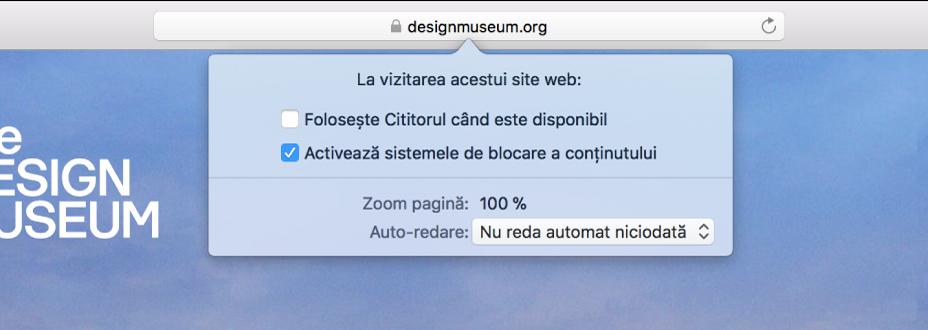 Meniu din câmpul inteligent de căutare, afișând configurările pentru site-ul web curent.
