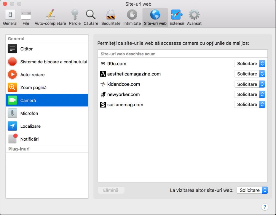 Preferințele Site-uri web, unde puteți personaliza modul în care navigați pe site-uri web individuale folosind aplicația Safari.