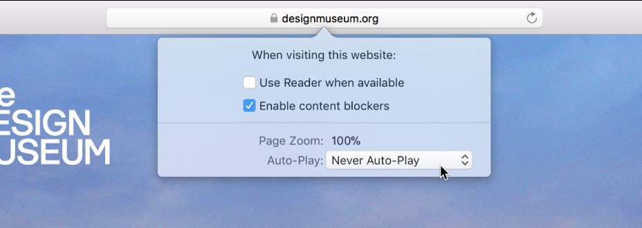 Meny från det smart sökfältet som visar inställningar för aktuell webbplats.